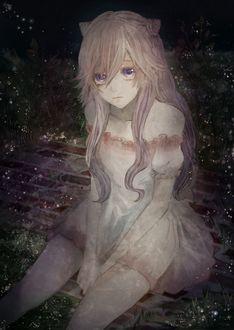 Фото Девушка в коротком платье, с фиолетовыми глазами и длинными светлыми волосами, собранными в виде ушек на макушке, грустно смотрит на зрителя, сидя на кирпичной дорожке среди цветов и огоньков в ночи
