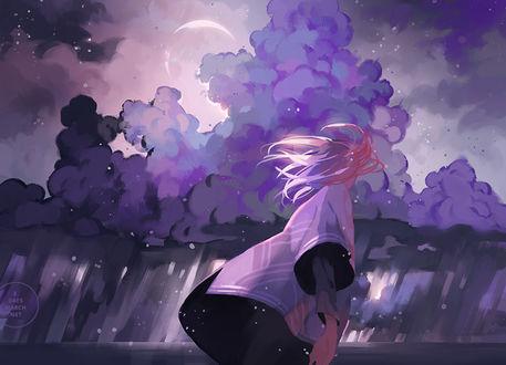 Фото Белокурый эльф на фоне фиолетовых туч в ночном небе, art by 3 days march
