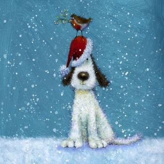 Фото Пес в новогодней шапке с птичкой, держащей веточку в клюве, на ней, сидит под снегопадом, by Jan Pashley