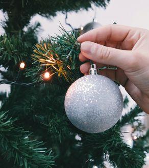 Фото Серебристый шарик вешают на елку с огоньками от светящейся гирлянды