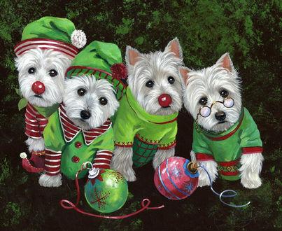 Фото Четыре белых щенка в новогодних костюмчиках с елочными шариками на фоне елки
