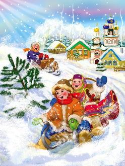 Фото На санках ребята предаются зимним забавам на снегу в солнечной деревеньке