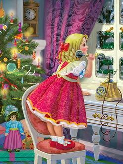 Фото Маленькая нарядная девочка забралась на стул и пытается звонить Деду Морозу, рядом сверкает огнями нарядная елка