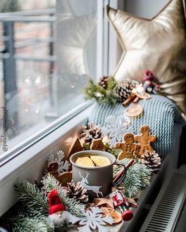 Фото Кружка чая с лимоном, печенье, еловые шишки и ветки на подоконнике, by paulina poland