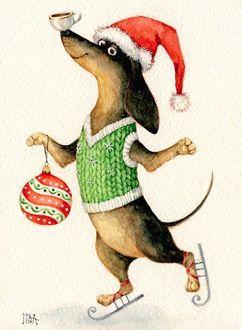 Фото Такса в новогоднем жилете и шапке Санта-Клауса, с елочным шаром на лапе и чашечкой на носу, катается на коньках, художник Инга Измайлова