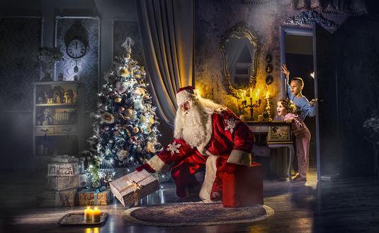 Фото Дети увидели Деда Мороза, кладущего подарки под елку, фотограф Дмитрий Усанин