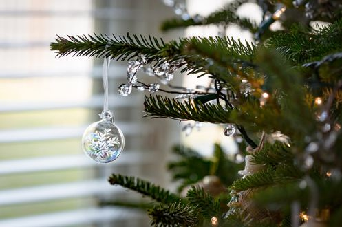 Фото Новогодняя елка с прозрачным шаром со снежинкой