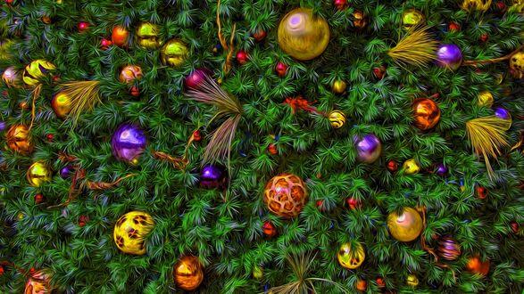 Фото Фрагмент новогодней наряженной елки