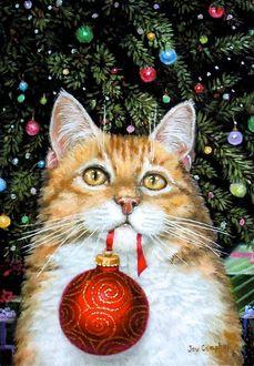 Фото Рыжий кот с новогодним шариком в зубах возле наряженной елки, by Joy Campbell
