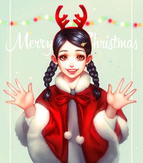 Фото Девушка в ободке с оленьими рожками, by renaillusion9Merry Christmas)