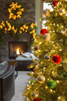 Фото Украшенная елка в комнате с камином, фотограф Gable Denims