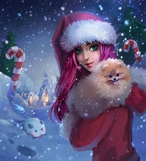 Фото Кatarina / Катарина в новогоднем наряде с собакой на руках под падающим снегом стоит на дорожке, где сидит Poro / Поро, персонажи из игры League of Legends / Лига Легенд by Julia Kovalyova