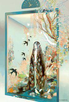 Фото Лифт, внутри которого сказочная природа и девушка-эльф