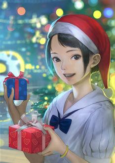 Фото Девушка в новогодней шапочке держит в руках подарки, by DigitalOme