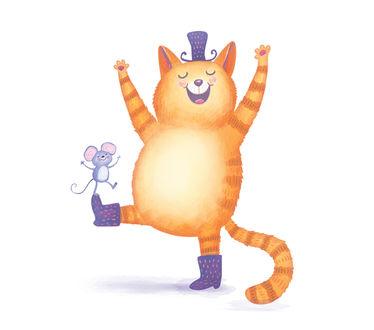 Фото Веселый рыжий кот в шляпке, сапожках, с мышкой на лапе