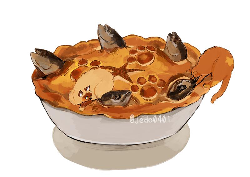 Фото Кошка лежит на рыбном пироге, by @jedo0401