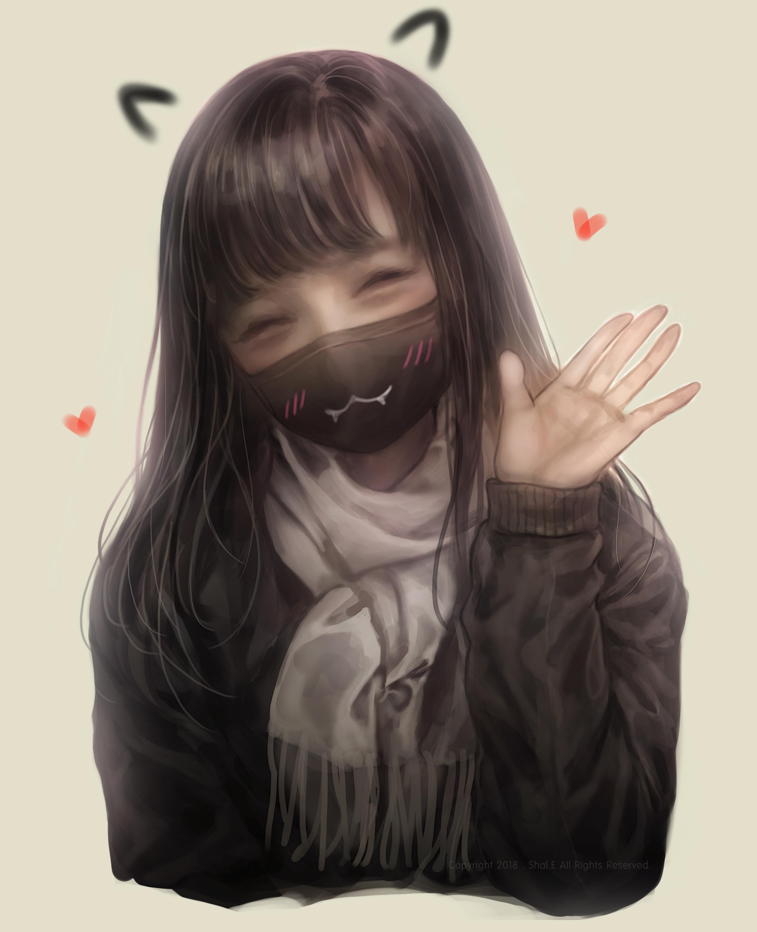 Картинки грустных девушек аниме в масках
