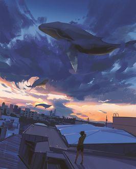 Фото Ребенок смотрит на китов в небе, стоя на крыше, by snatti