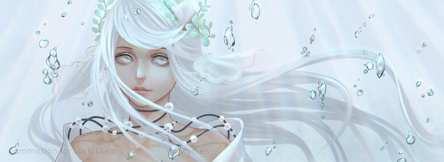 Фото Белокурая девушка с голубыми листьями среди капель воды, by Myme1