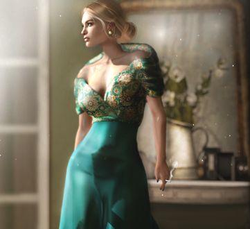 Фото Девушка в голубом платье стоит в комнате, by Jojo Deed