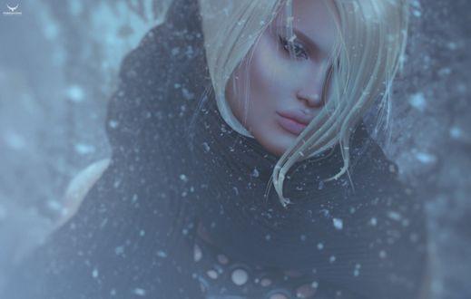 Фото Девушка-блондинка под падающим снегом