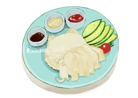 Фото Белая кошка удобно устроилась на тарелке с рисом, кусочками курицы, овощами и соусами, by @jedo0401