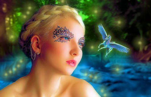 Фото Девушка с аппликацией на лице и летящий пегас на фоне боке природы