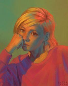 Фото Задумчивая девушка-блондинка, by AngelGanev