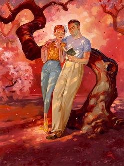 Фото Влюбленные стоят в обнимку у дерева и читают книгу, by Kai Carpenter
