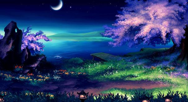 Фото Цветущая сакура у озера в лунном свете