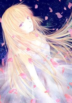 Фото Айка Фува / Aika Fuwa из аниме Буря потерь / Zetsuen no Tempest в окружении лепестков сакуры на фоне звездного неба