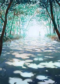 Фото Девушка гуляет по затопленной водой дорожке, среди зеленых деревьев, art by 3 days march