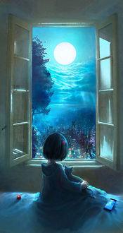 Фото Девочка с кошкой смотрят в окно на ночной город, by 00