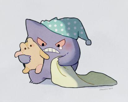 Фото Маленький грустный демон в ночном колпаке держит одеяло и плюшевого медведя, by а y u