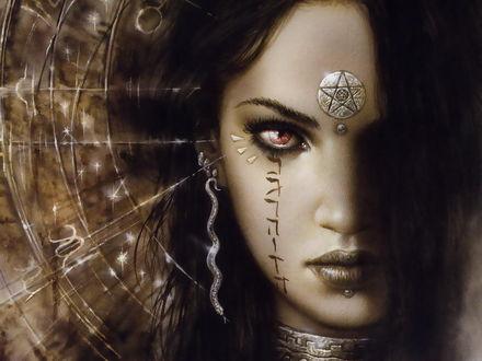 Фото Портрет девушки с магическим знаком на лбу и рисунком на щеке, на фоне знаков зодиака, by Luis Royo