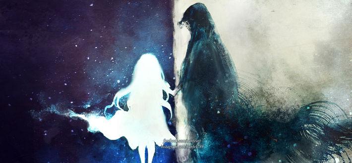 Фото Светлая девушка держит за плащ мужчину-тьму, by NanFe