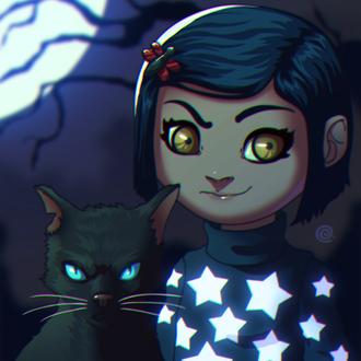 Фото Coraline / Коралину с черным котом из мультфильма Coraline / Коралина в стране кошмаров, by redeve