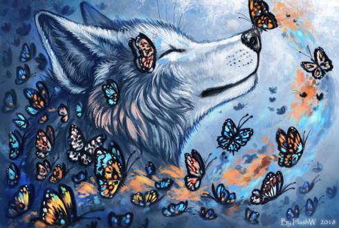 Волк в окружении бабочек, by FlashW