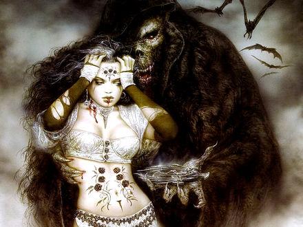 Фото Вампир дарит подарок, укушенной им, девушке, by Luis Royo