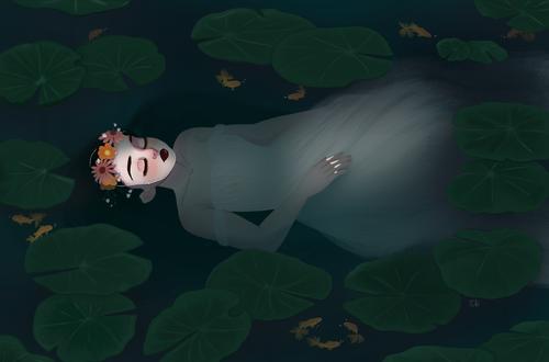 Фото Тело девушки в белом платье и в венке на голове лежит в воде среди листьев кувшинки и мелких рыб, art by Tia Christine