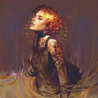 Фото Девушка с короткими волосами и тату на руке, вокруг ее головы летают символы, art by vetyr