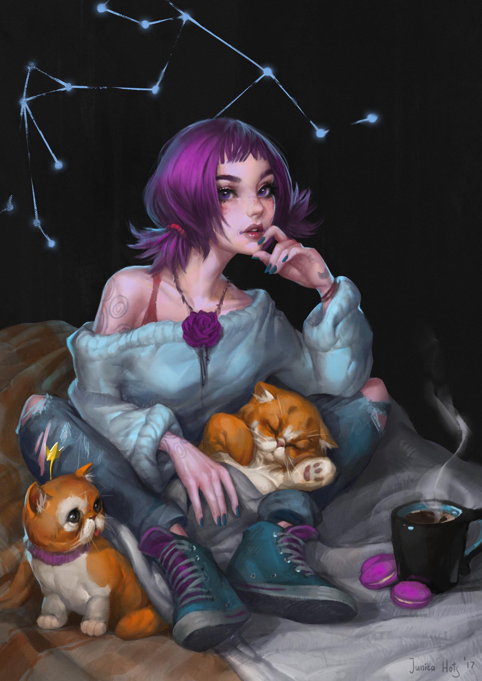 Фото Девушка с фиолетовыми волосами сидит на постели с рыжими котятами перед горячей чашкой чая, by Junica Hots