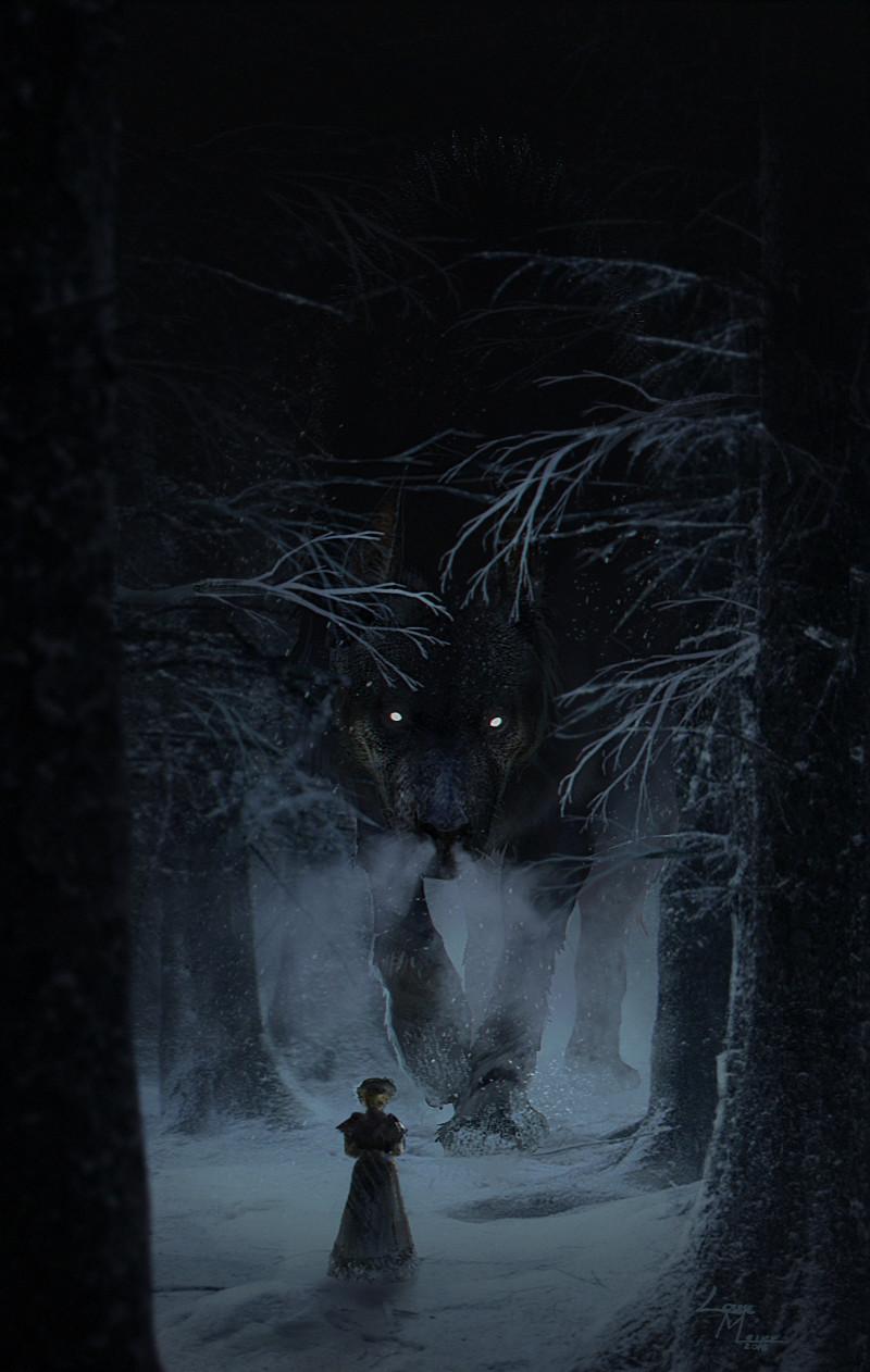 Фото Девочка стоит посреди леса, за ней стоит огромный волк с белыми глазами, автор Roiuky