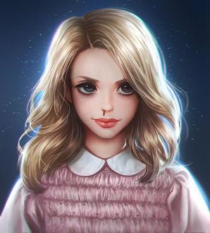 Фото Светловолосая девушка с кровью из носа на фоне звездного ночного неба / Eleven / Одиннадцать - персонаж сериала Stranger Things / Очень странные дела, by mollyillusion