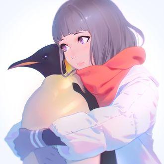 Фото Девочка обнимает пингвина, by Kuvshinov Ilya