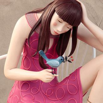 Фото Девушка держит птичку на руке, by Ирма Gruenholz