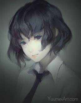 Фото Девушка с короткими темными волосами, в рубашке с галстуком, by Yuumei