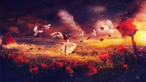 Фото Девушка в белом стоит в поле в окружении голубей, (What the wind whispers / Что ветер шепчет), by Ellysiumn