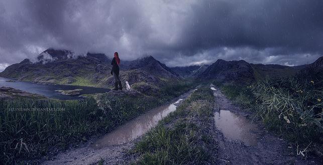Фото Девушка с собакой стоит недалеко от дороги, by Ellysiumn