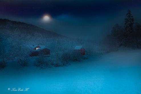 Фото Домики под ночным небом с луной, фотограф Tore H